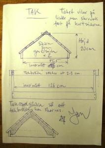 Skiss med mått för taket